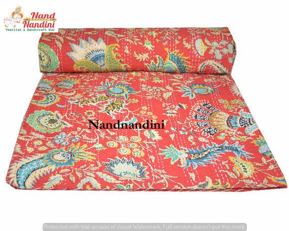 Handmade Quilt Vintage Kantha  Bedspread Throw Cotton Blanket Indian Bedding Set #Handmade #AntiqueStyle