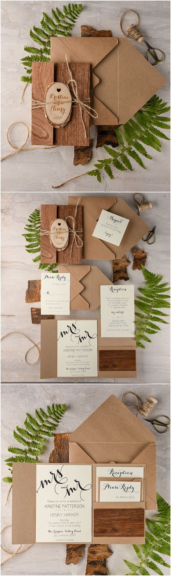 Recycled Eco Rustic Real Wood Wedding Invitations / http://www.deerpearlflowers.com/rustic-wedding-invitations/