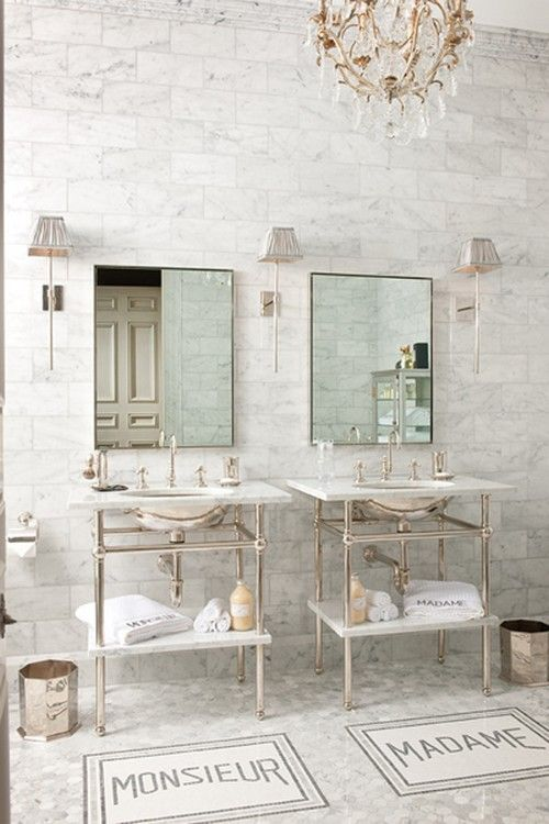 Amazing Classic White Marble Bathroom With His And Hers Console Sinks