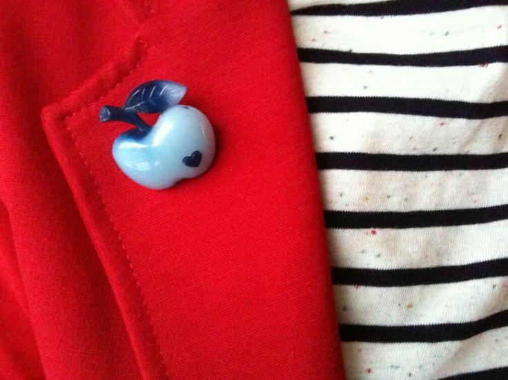 Blue Apple Brooch pinned on a red jacket / Worn by KarinLoopbaan