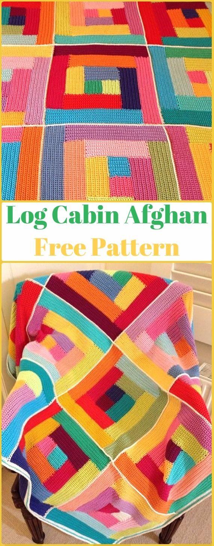 Crochet Log Cabin Manta afgana patrones libres - manta de bloques Crochet patrones libres