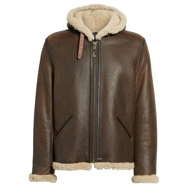 Men's Schott Nyc Genuine Shearling Vintage B-6 Hooded Bomber Jacket ($1,195) ❤ liked on Polyvore featuring men's fashion, men's clothing, men's outerwear, men's jackets, vintage mens jackets, mens blouson jacket, mens shearling jacket and mens flight jacket