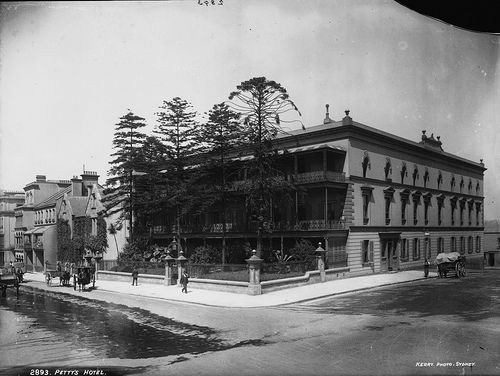 Petty's Hotel, at No. 1 York Street, Sydney, opened in 1842 and advertised itself as conveniently located to the Botanic Gardens, Theatres, Post and Telegraph Office and the Termini of Foreign and Intercolonial Steamship Lines. The hotel's verandahs and balconies were 'charming retreats' from which guests could take in views of the city. - See more at: http://www.powerhousemuseum.com/imageservices/2010/04/pettys-hotel/#sthash.J9fzPE5J.dpuf