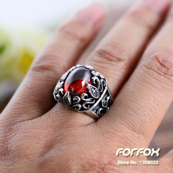 Antik Thai Silver 925 perak cincin pria, Garnet alam batu akik hitam untuk pria ukuran 8 9 9.5 pengiriman gratis di Cincin dari Perhiasan AliExpress.com | Alibaba Group