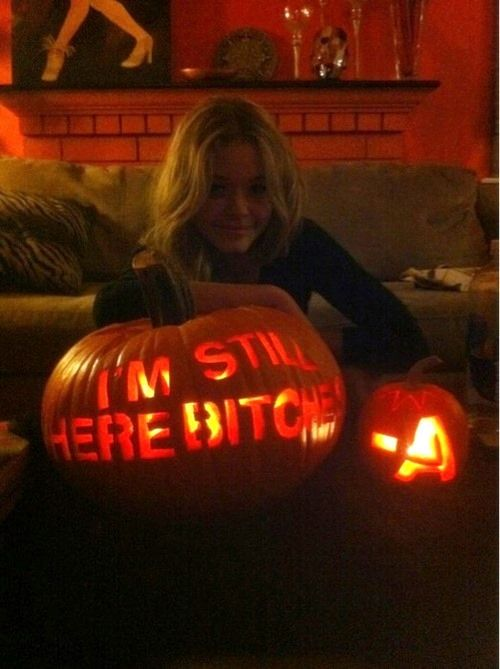 #imstillherebitches #A Hmm Ali wishing us a Happy Halloween from beyond?