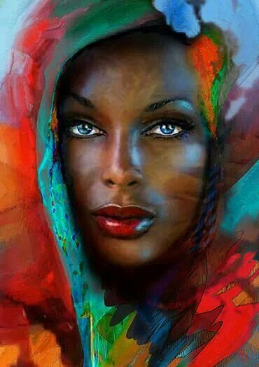 This painting speaks volumes!!! Love the chocolate skin I'm in!! Love me some me!! Love the colors...