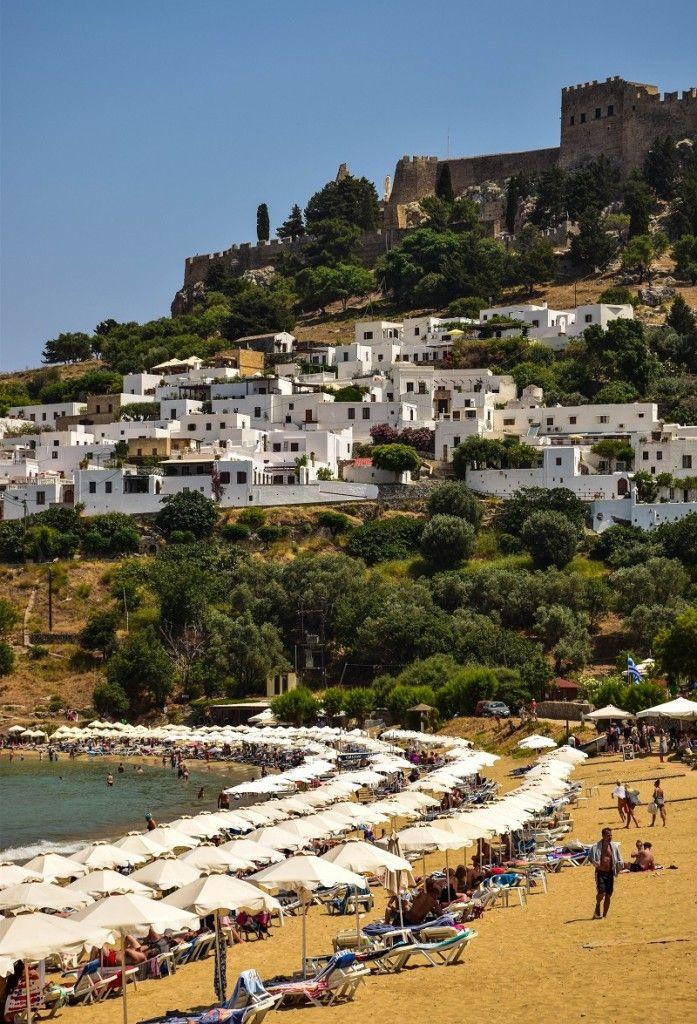 Lindos Beach, Village and Acropolis - Rhodes, Greece