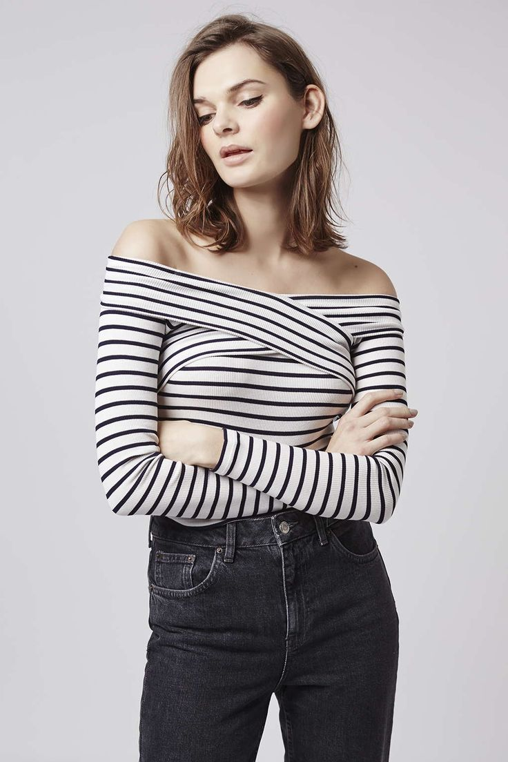 Photo 2 of Striped Bardot Top