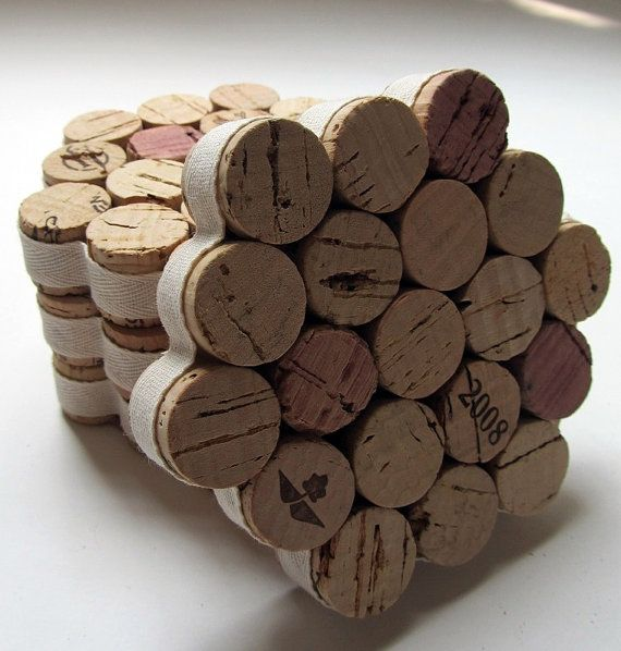 Honeycomb Wine Cork Coasters via LizzieJoeDesigns
