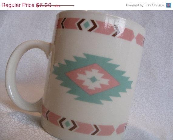 Mint and pink southwestern mug/vintage Native by BohoRain  Reminds me of my childhood home decor