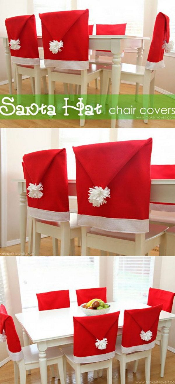 Christmas chair back covers - Diy Santa Hat Chair Covers