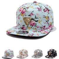 Wish   New Fashion Floral Flower Snapback Hip-Hop Hat Flat Peaked Adjustable Baseball Cap Favor
