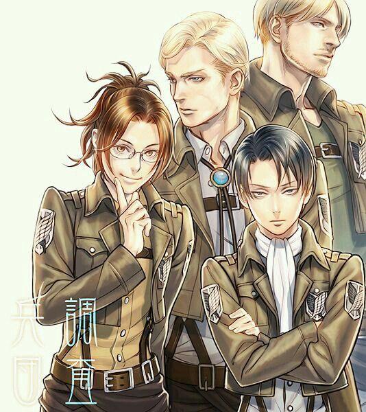 Hanji/Zoe, Erwin Smith, Mike Zacharius, Rivaille (Levi)