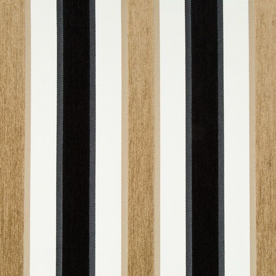 Black White Velvet Stripe Upholstery Fabric for Furniture - Modern Black Taupe Velvet Pillow - Contemporary Striped Roman Shade and Curtain