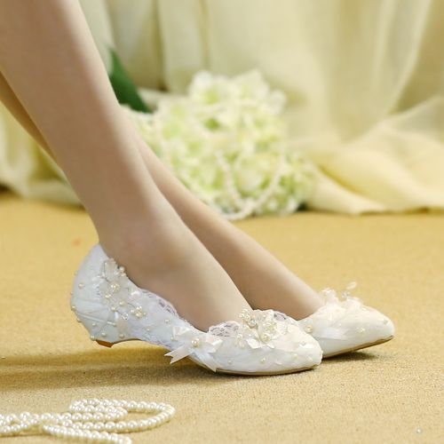 New Arrival Wedges white lace fashion wedding shoes Girl's Party shoes Low heel beaded pearl shoes big size 34-44 Plus size