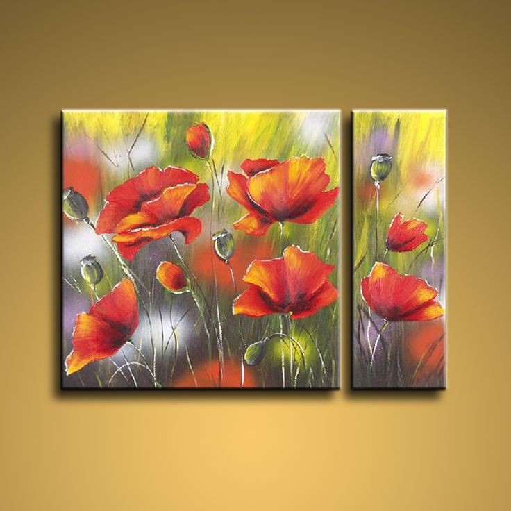 Astonishing Contemporary Wall Art Floral Painting Flower On Canvas. In Stock…