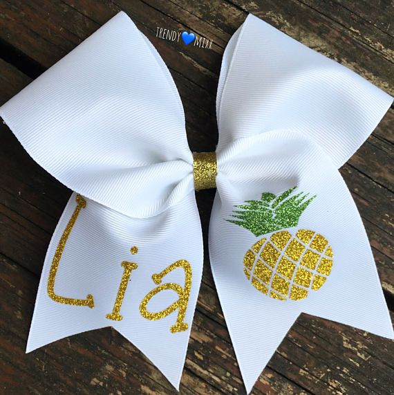 $12  Personalized pineapple bow. White cheer bow with glitter design. Custom cheerleader bow gift. Pineapple, summer fun! #cheerleading #ad