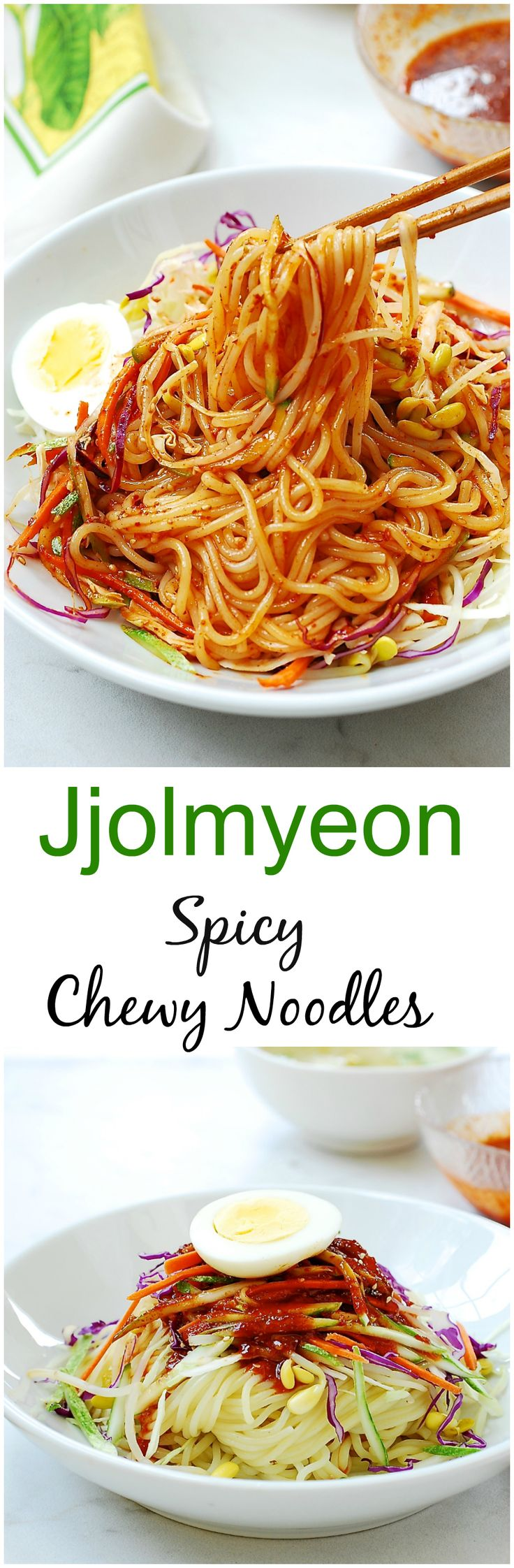 Jjolmyeon - Pleasantly chewy noodles in a spicy, sweet, and tangy gochujang sauce!