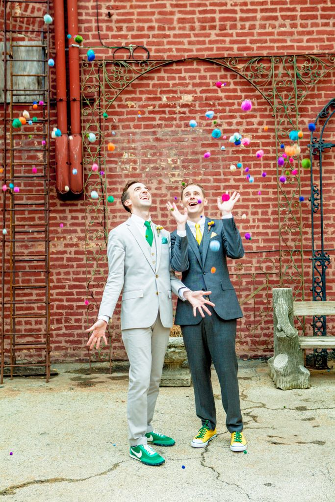 Wedding Gay Same Sex Wedding Grooms Pompoms Vintage -6427
