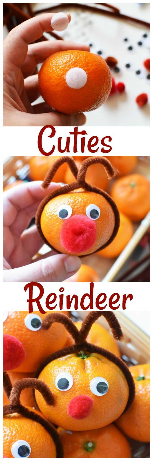 Reindeer Mandarin Oranges Craft +Brighten Someone's Day with Cuties. See how you can brighten someones day with Cuties. Plus, get what you need to make this adorable Cuties Reindeer Craft. via @savvysavingcoup #AD #100DaysofSunshine @cuties