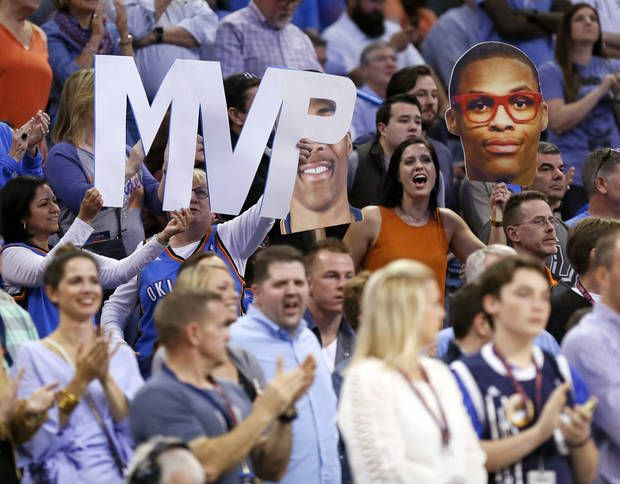 Fans hold sings for Russell Westbrook during an NBA basketball game between the Oklahoma City Thunder and San Antonio Spurs at Chesapeake Energy Arena in Oklahoma City, Friday, March 31, 2017. San Antonio won 100-95. Photo by Nate Billings, The Oklahoman