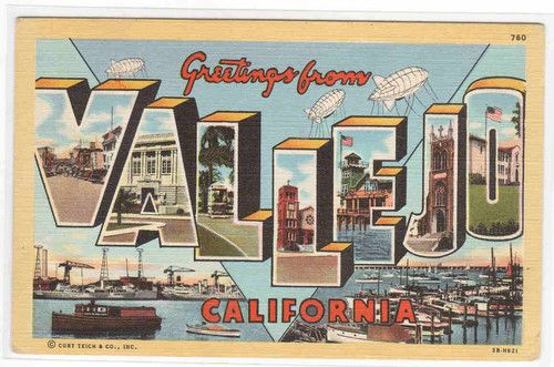 Greetings from Vallejo California Large Letter Linen Postcard | eBay