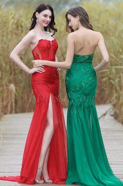 Sexy Rot Trägerlos Hoch Schlitz Spitze Appikation Kleid (02170302)