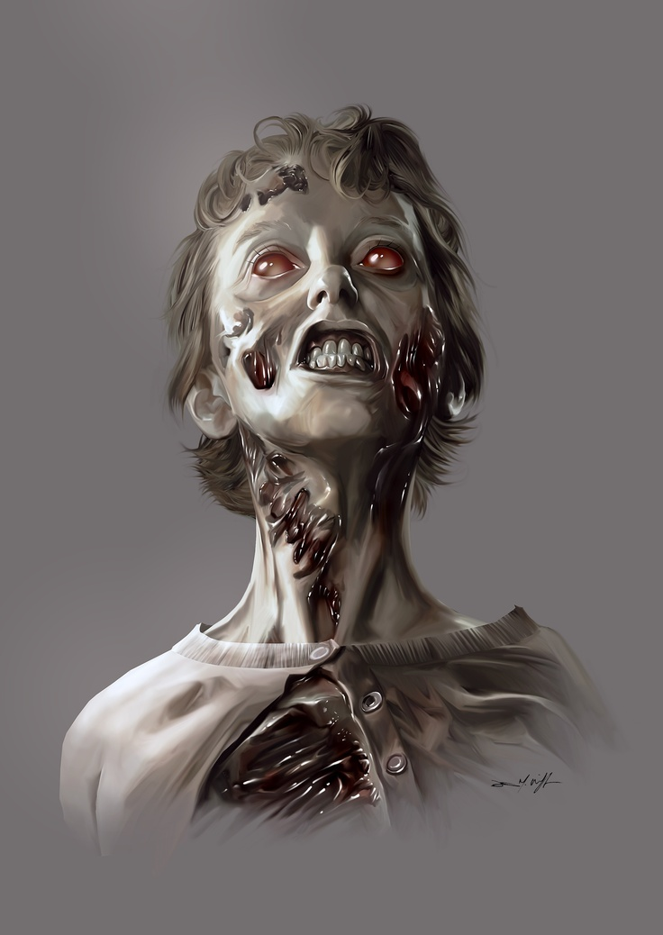 WALKING DEAD ZOMBIE II, commission, graphite & digital painting 2012.