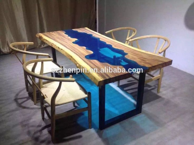 Solid Wood Dining Table Glass Inlaid Dinning Table Raw Wood Slab