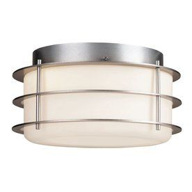 Philips Hollywood Hills 10-in W Vista Silver Outdoor Flush-Mount Light