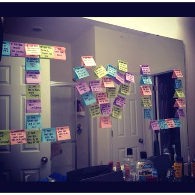 I Love you with post its (on each written a memory or reason why they are special to you)