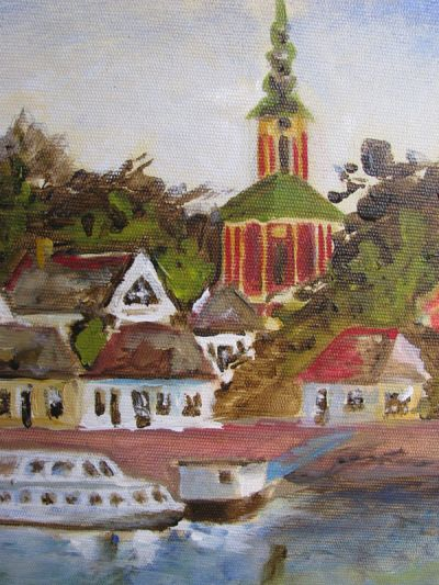 Detail of View of Szentendre from the Danube river. Belgrade Cathedral. Acrylic painting.