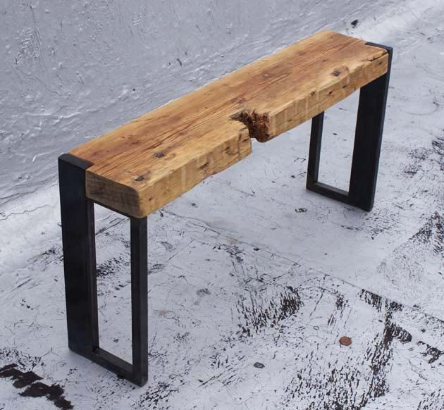 Reclaimed Wood and Steel Bench.