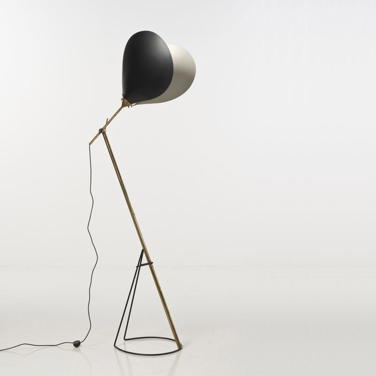 Angelo Lelli Attributed; Enameled Metal and Brass Floor Lamp by Arredoluce, c1960.