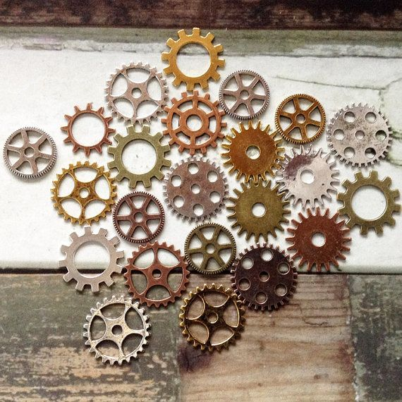 20 piece cog charms 9mm to 25mm metal clock by MyVintageCharms