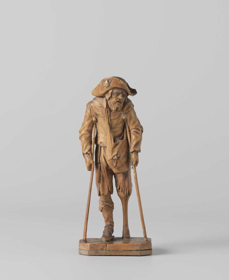 Jacques Callot | Beggar with a Wooden Leg, Jacques Callot, c. 1650 | Hij staat op het rechterbeen en leunt op twee krukken; het pijnlijk vertrokken gelaat is naar rechts gewend. Over een kapje draagt hij een grote pelgrimshoed, waarvan de opgeslagen rand een schelp tegen twee kruiselings geplaatste pijlen vertoont. Zijn haveloze, niet geheel definieerbare kleding bestaat o.a. uit een buis met gerafelde mouwen en dito broek. Aan het been zit een afgezakte kous en aan de voet een muil. Om zijn…