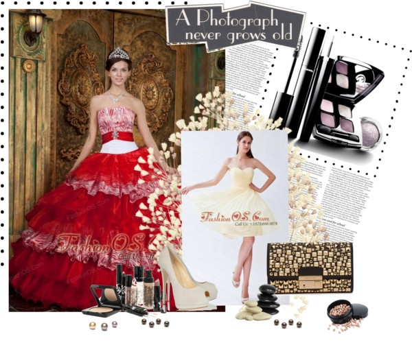 """""""Pretty Red Quinceanera Dress Strapless Organza and Zebra Ruffles Ball Gown"""" by quinceaneradress ❤ liked on Polyvore"""