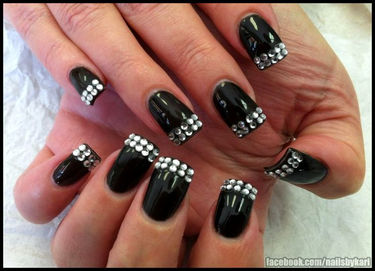 Black Gel polish with rhinestones cured in gelDiamonds French, Bling French Nails, Nails Art, Rings Fingers, Makeup, Black Polish, Black Bling, French Tips, Hair