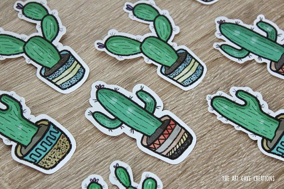 These cute cactus stickers are perfect for decorating your laptop, notebook or any other plain, boring objects. Add a touch of personality wherever you go. Stickers all vary in size and shape, but are around 7.5cm x 5cm on average.  These are strong paper stickers. They stick well, but once theyre on they will need soaking off. They are not waterproof so only stick on indoors objects.  Spend £5 at The Art Cave Creations and receive a free surprise! (Postage not Included)
