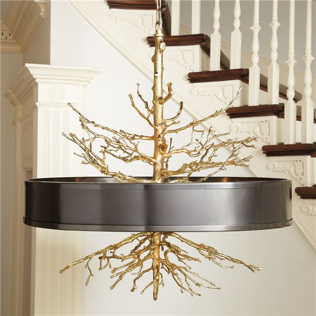 Global Views Twig Brass on Brass Pendant with Bronze Shade