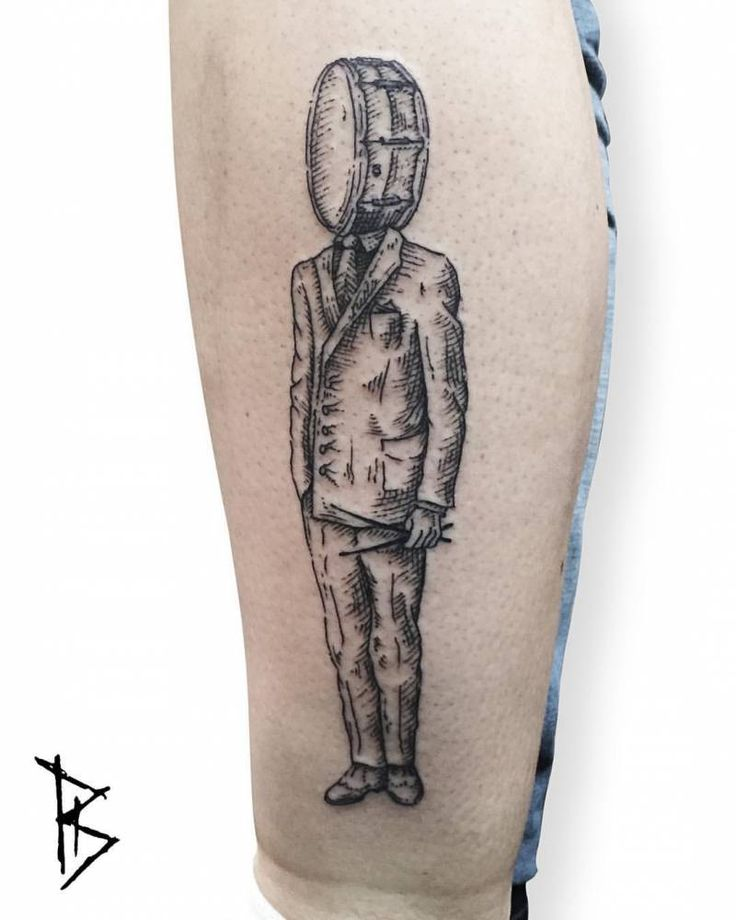 Surrealist engraving style drum head tattoo.                                                                                                                                                                                 Mais