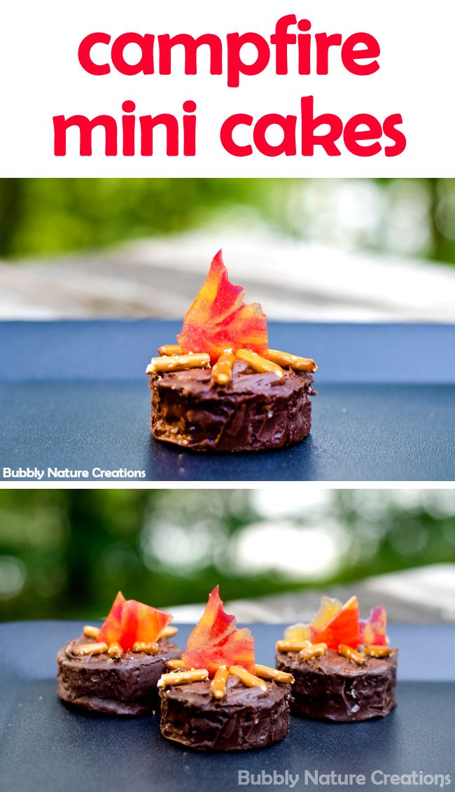 "Campfire Mini Cakes-Can make with Cake or Brownie. Crush Butterscotch & Cinnamon candy, bake at 350°F. for about 6 to 8 minutes or until candies are completely melted. Cool candies completely before handling and break into 1/2 to 1 inch chards for the ""fire"" look. Then use small pretzel sticks as the fire logs."