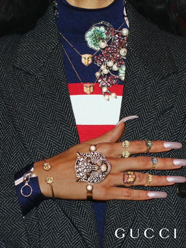 Fashion jewelry from the Gucci Pre-Fall 2017 collection.