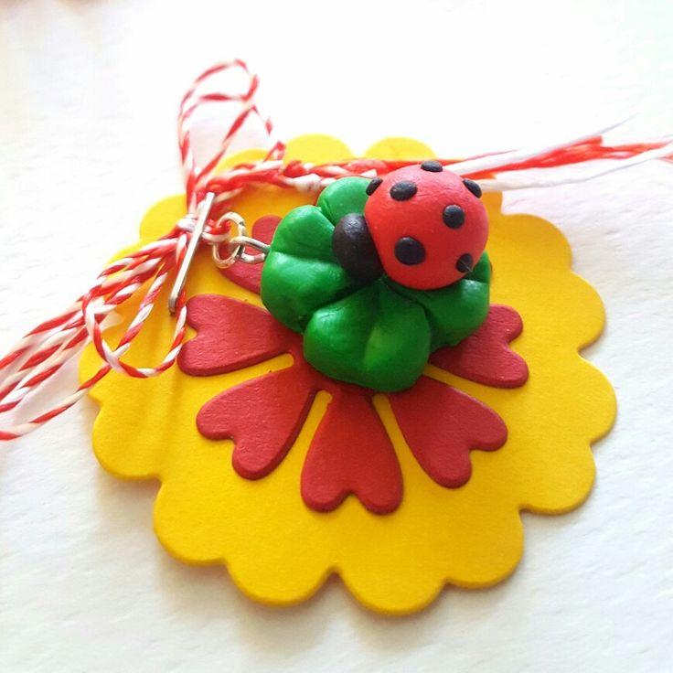 Polymer clay ladybug handmade jewelry  #martisoare #polymerclay #ladybug