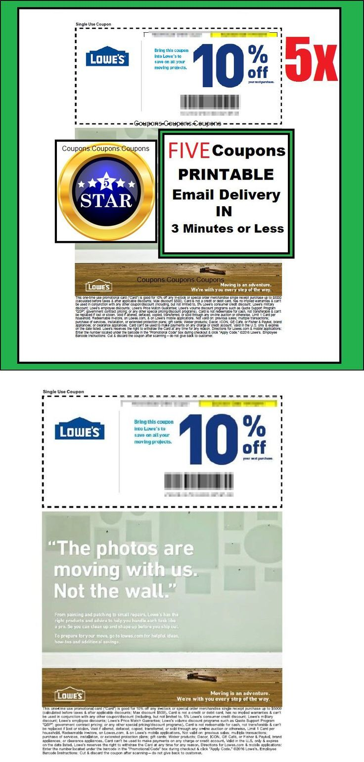 Coupons: (5X) - Five Lowes 10% Off Printable-Coupons - Valid In-Store Use Or At Lowes.Com BUY IT NOW ONLY: $1.99
