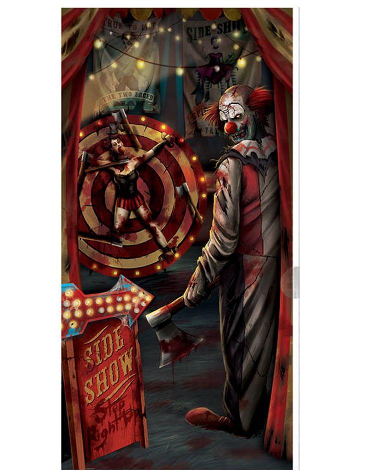 Décoration de porte clown Halloween 85 x 165 cm : Cette décoration de porte est en plastique et mesure environ 85 x 165 cm.Elle représente un abominable clown tueur sous un chapiteau en pleine scène de folie...