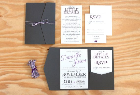 Pocket Wedding Invitation, grey and lilac wedding, pocketfold wedding invitation, classic invitation, typographic wedding invitation $6.50