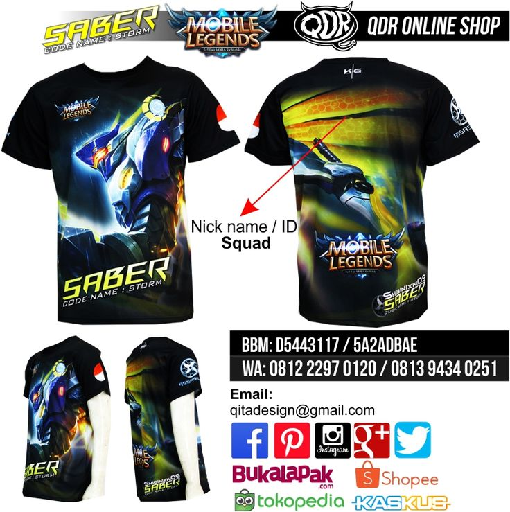 Saber (Code Name: Storm) Mobile Legends (Baju MObile Legends) Bahan: Dry-fit printing: sublimasi untuk pemesanan: BBM D5443117 / 5A2ADBAE (Qdr online shop) WA/LINE 081222970120 / 08129434025