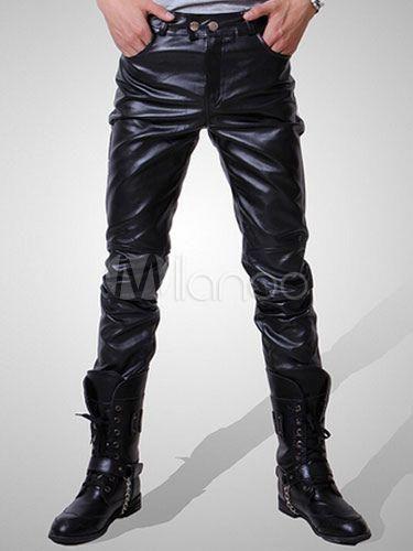 4cccf5e4e78a Black Men Pant Zipper Ruched Boot Cut Skinny Leather Pant For Men  #slimjeansformenpants #Jeans