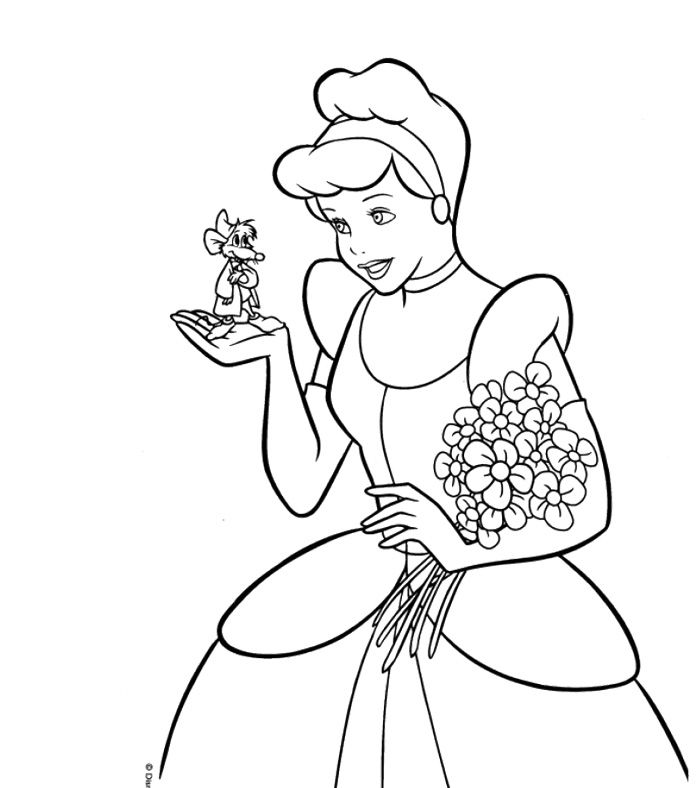 Cinderella And Mice Coloring Page